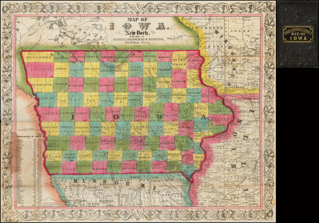Map of Iowa By Ensign, Bridgeman & Fanning