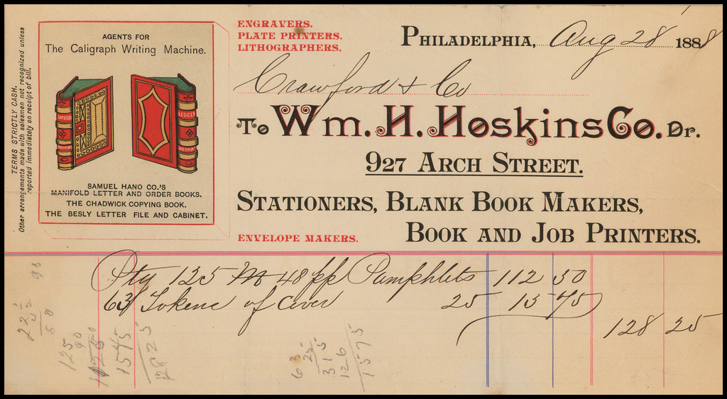 Wm. H. Hoskins Co. Engravers, Plate Printers, Lithographers -- Agents For The Caligraph Writing Machine -- Printed Invoice  By Wm. H. Hoskins Co.