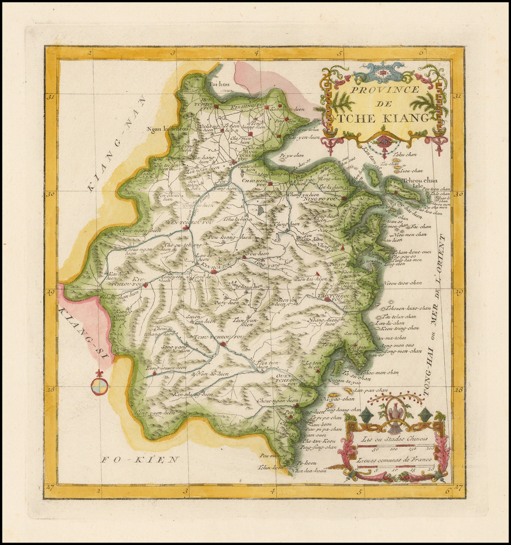 (Chekiang) Province De Tche Kiang By Jean-Baptiste Bourguignon d'Anville