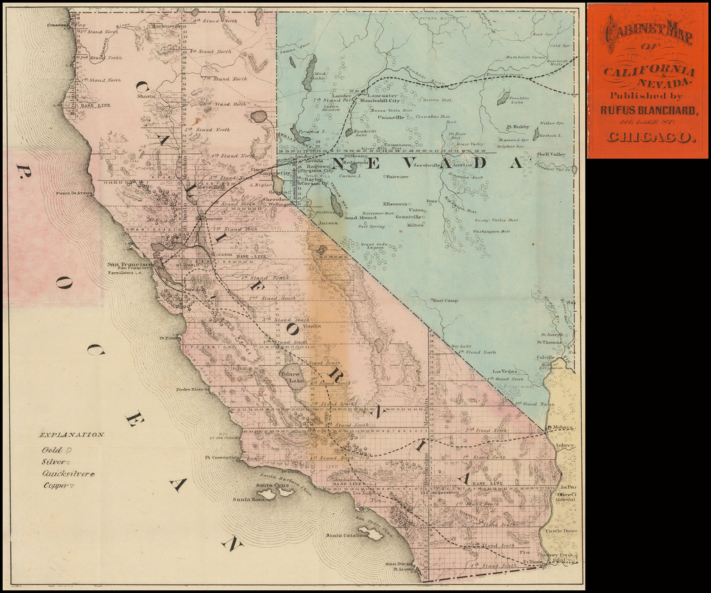 Cabinet Map of California & Nevada.  Published By Rufus Blanchard . . . (Pocket Map) By Rufus Blanchard