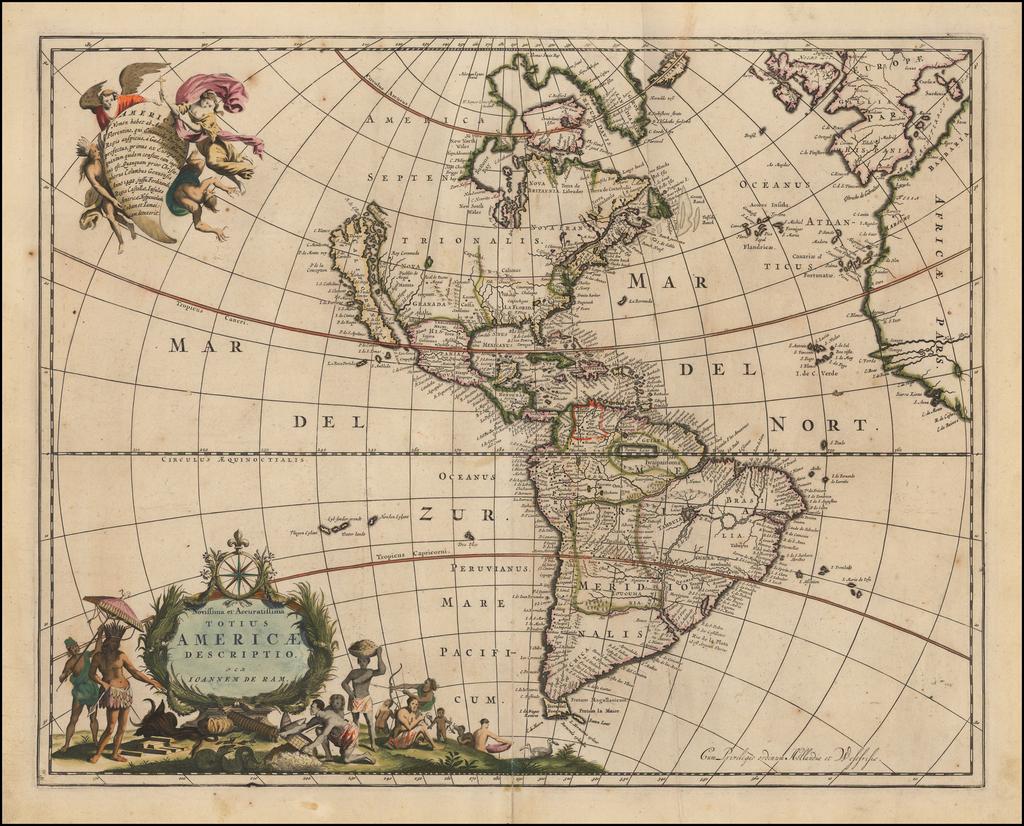 Novissima et Accuratissima Totius Americae Descriptio per Ioannem De Ram  (California as an Island). By Johannes De Ram