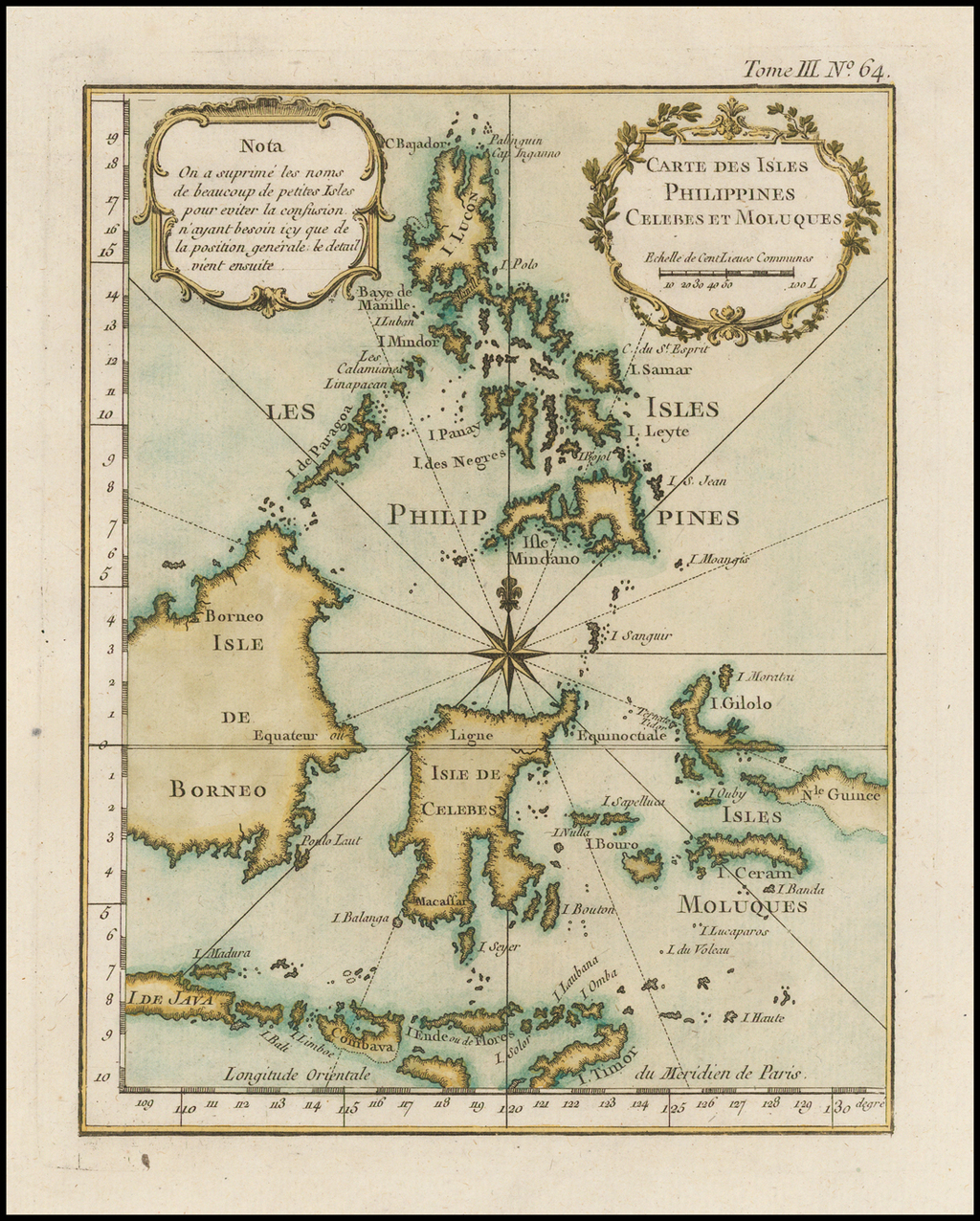 Carte Des Isles Philippines Celebes et Moluques By Jacques Nicolas Bellin