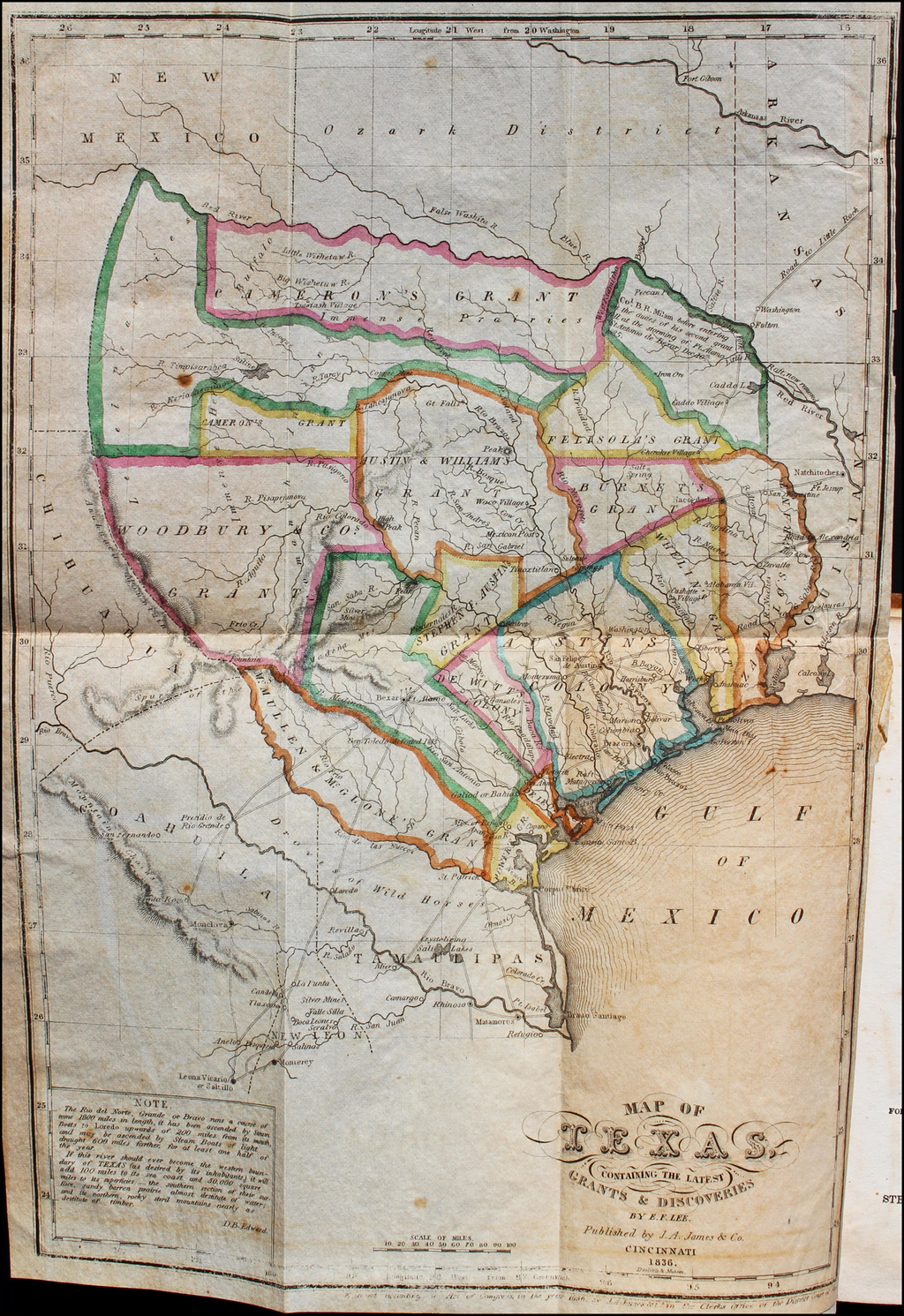 Map Of Texas 1836.Map Of Texas Containing The Latest Grants Discoveries By E F Lee