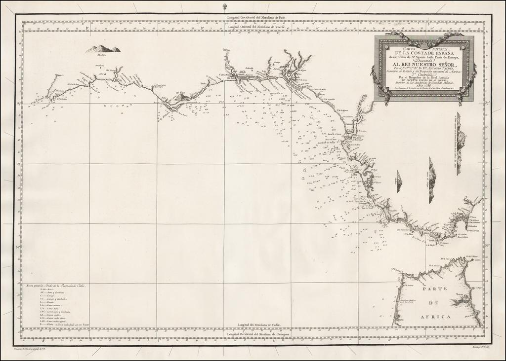 Carta Esferica de la Costa de España desde Cabo de Sn. Vicente hasta Punta de Europa . . . Año 1786 . . . By Don Vincente Tofiño de San Miguel