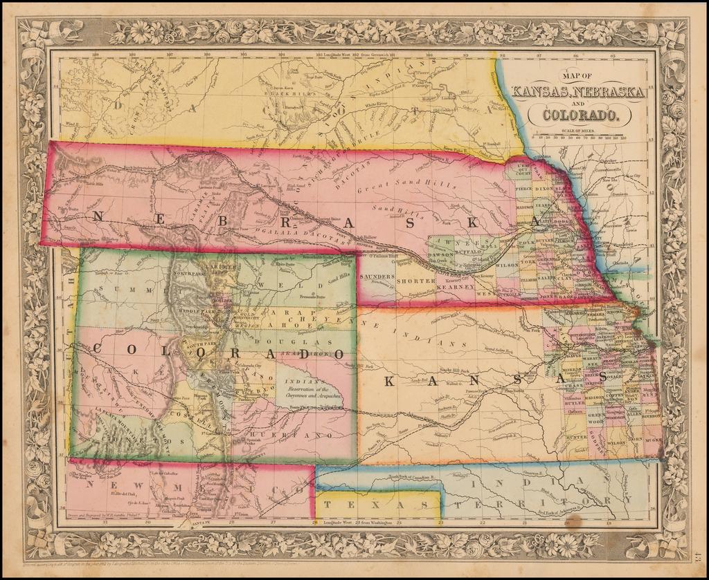 Map of Kansas, Neska and Colorado - Barry Lawrence Ruderman ... Kansas S Map on maryland map, ohio s map, delaware map, utah s map,