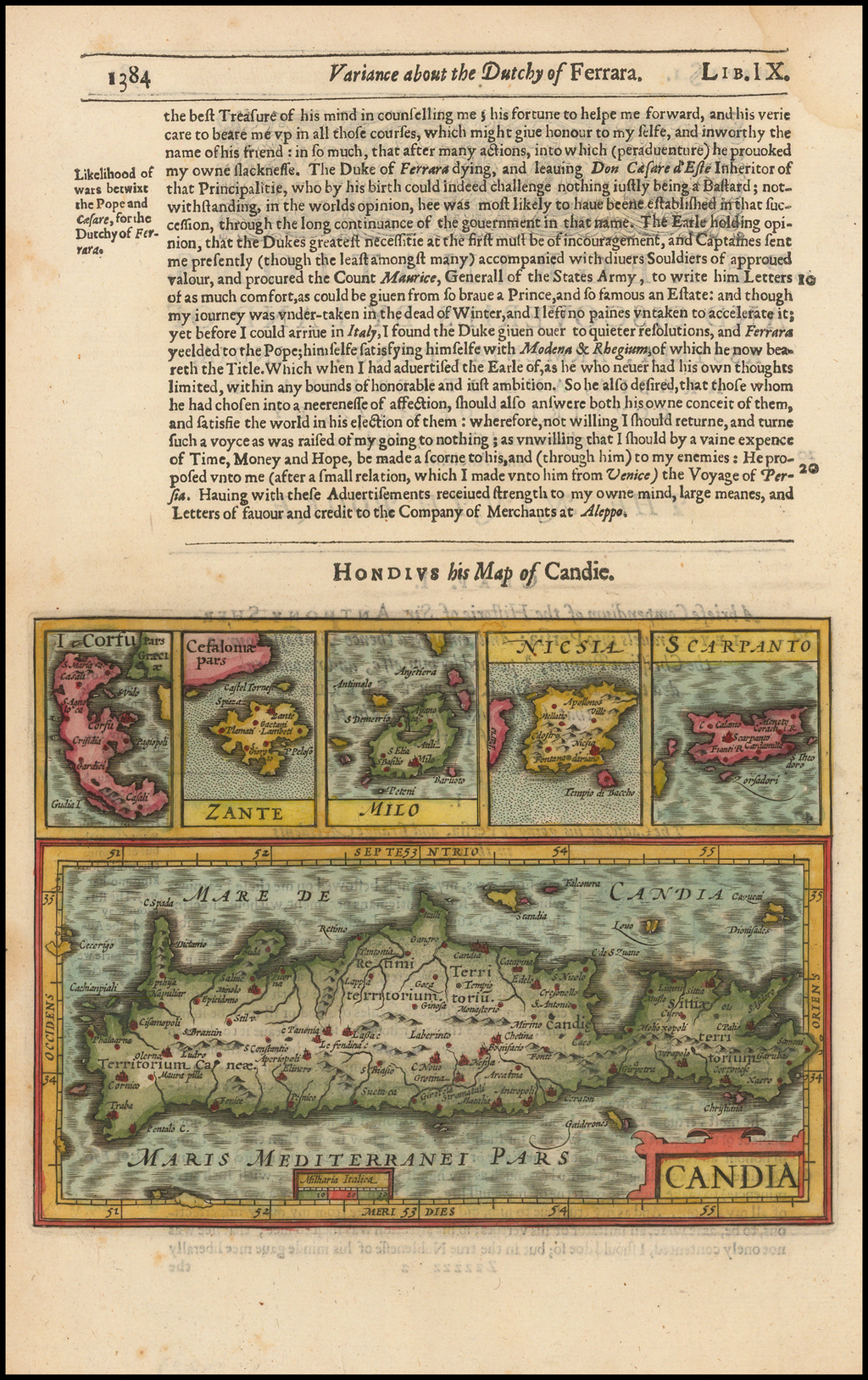 Candia [with] Corfu [with] Zante [with] Mion [with] Nicsia [with Scarpanto By Jodocus Hondius / Samuel Purchas