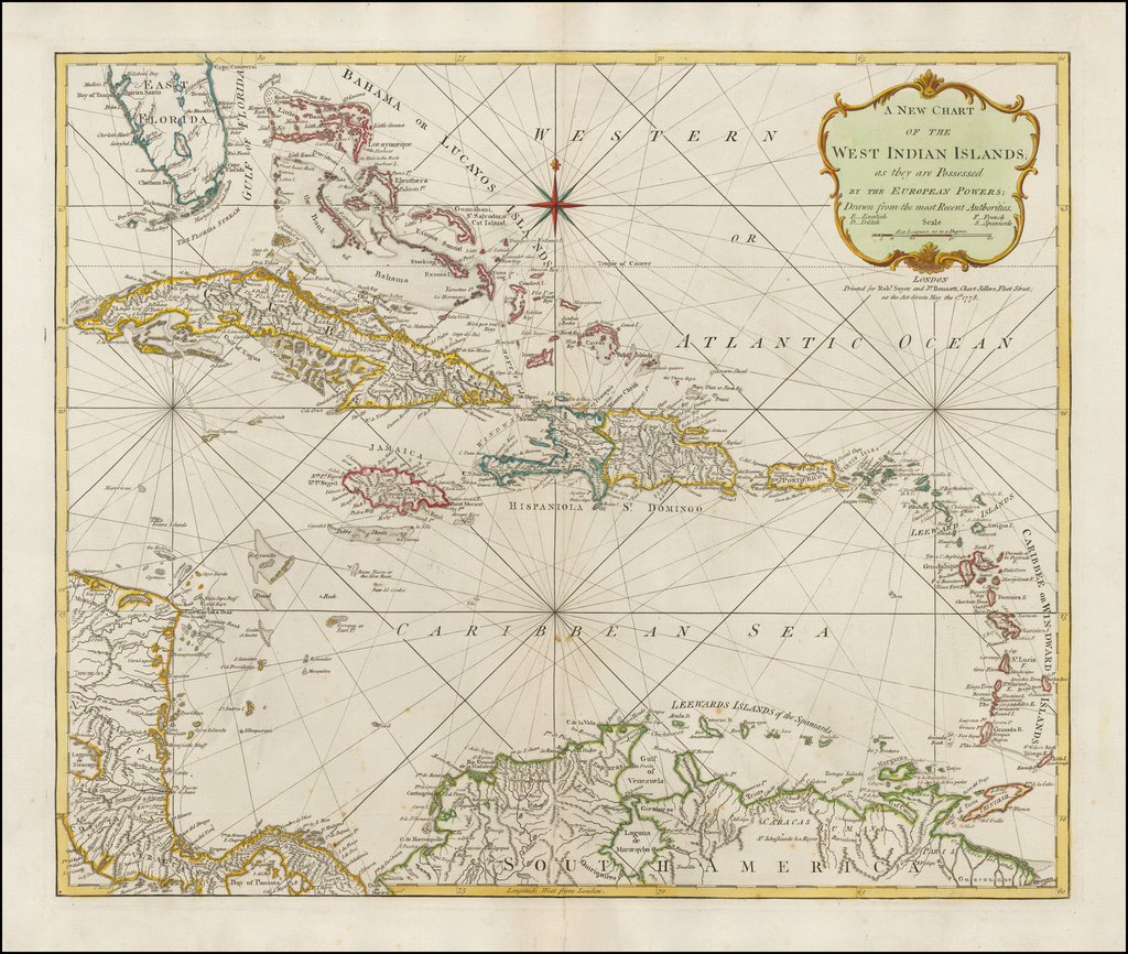 A New Chart of the West Indian Islands, as they are Possessed By The European Powers;  Drawn from the most Recent Authorities . . . 1778 By Robert Sayer  &  John Bennett