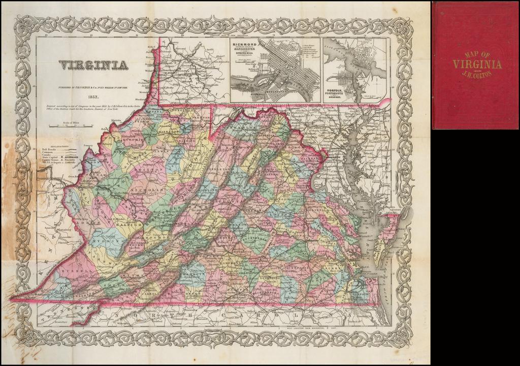 [Pocket Map]  Virginia.  1857 By Joseph Hutchins Colton