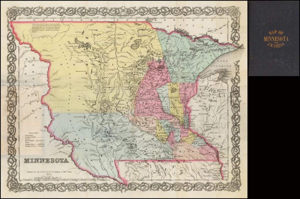 Minnesota 1855 By Joseph Hutchins Colton