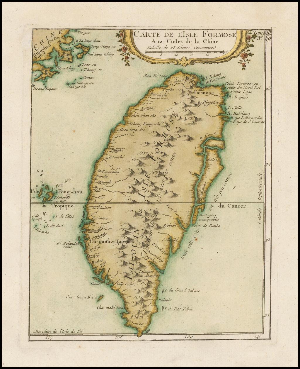 Carte De L'Isle Formose Aux Cotles de la Chine By Jacques Nicolas Bellin