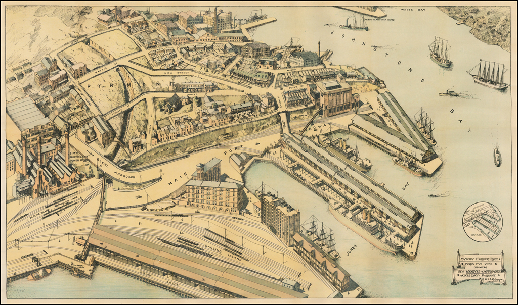 Birds Eye View Showing the New Wharves & Approaches -- Jones Bay - Pyrmont By Sydney Harbour Trust