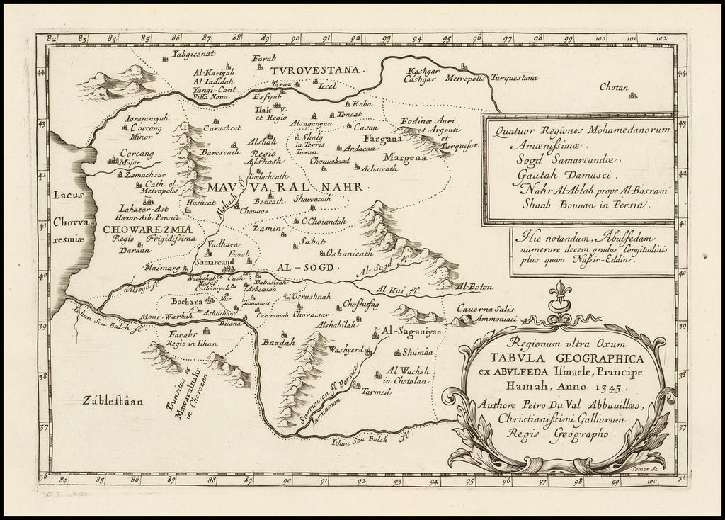 Regionum ultra Oxum Tabula Geographica ex Abulfed Ismaele, Principe Hama Anno 1345 . . .  By Pierre Du Val