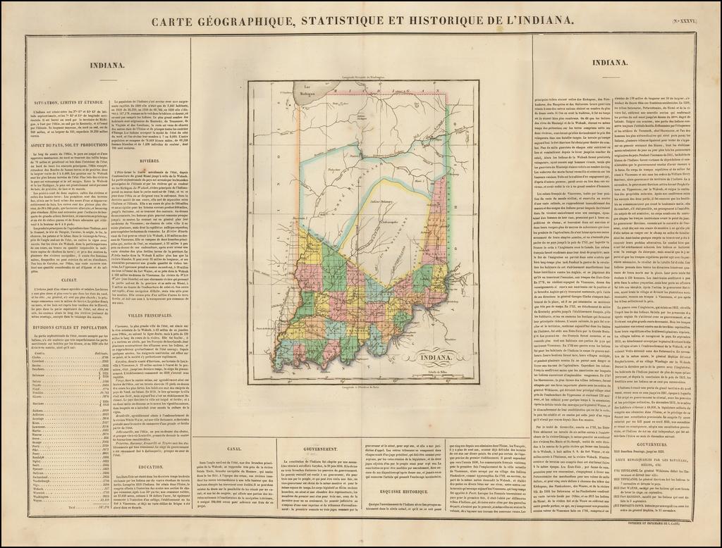 Carte Geographique, Statistique et Historique De L'Indiana By Jean Alexandre Buchon