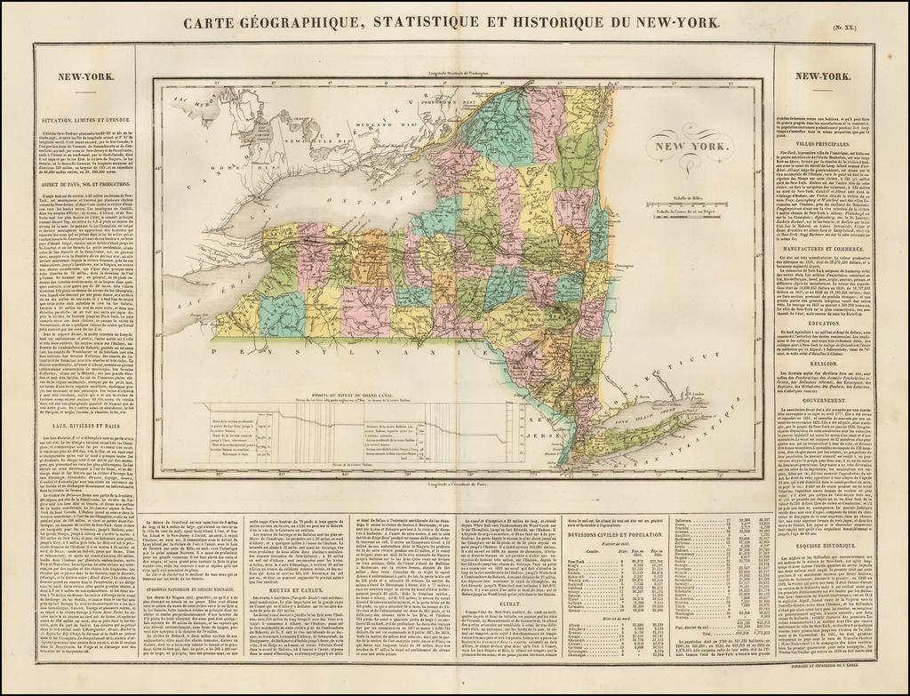 Carte Geographique, Statistique et Historique De New York By Jean Alexandre Buchon