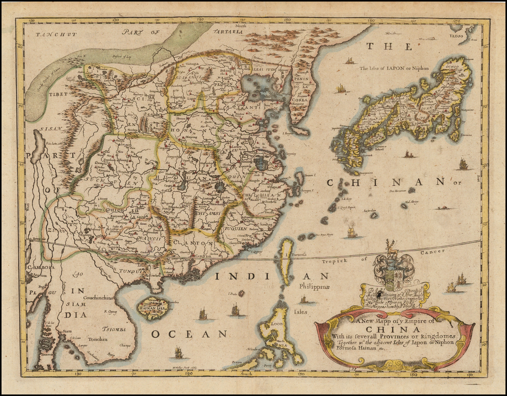 A New Mapp of ye Empire of China With its severall Provinces or kingdomes, Together wth. the adjacent Isles of Iapon or Niphon, Formosa, Hainan, etc.  By Richard Blome