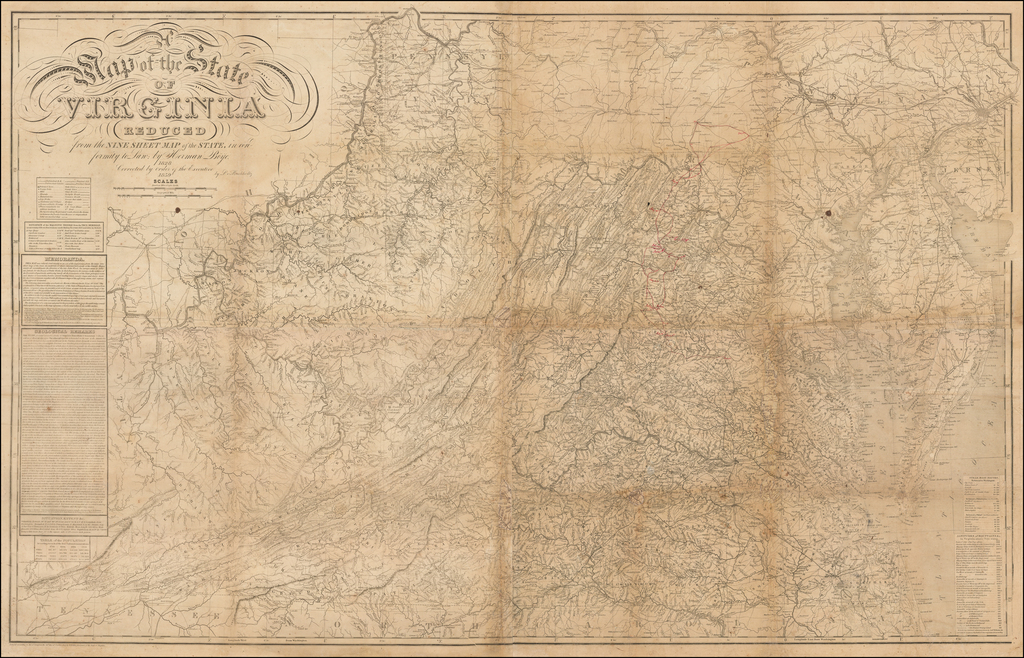 A Map of the State of Virginia Reduced from the Nine Sheet Map of the State in conformity to law by Herman Böÿe.  1828.  Corrected by order of the Executive 1859 By L. Buchholtz By Herman Boye
