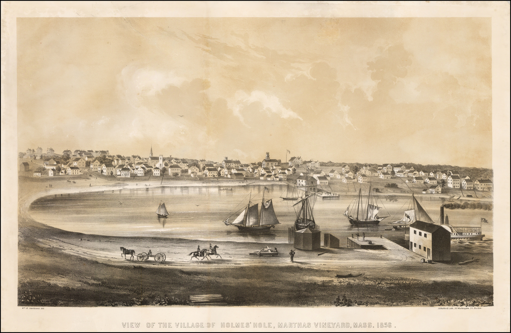 View of the Village of Holmes' Hole, Marthas Vineyard, Mass, 1856. By J.H. Bufford