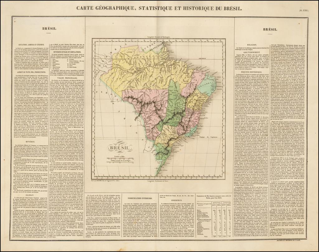 Carte Geographique, Statistique et Historique Du Bresil By Jean Alexandre Buchon