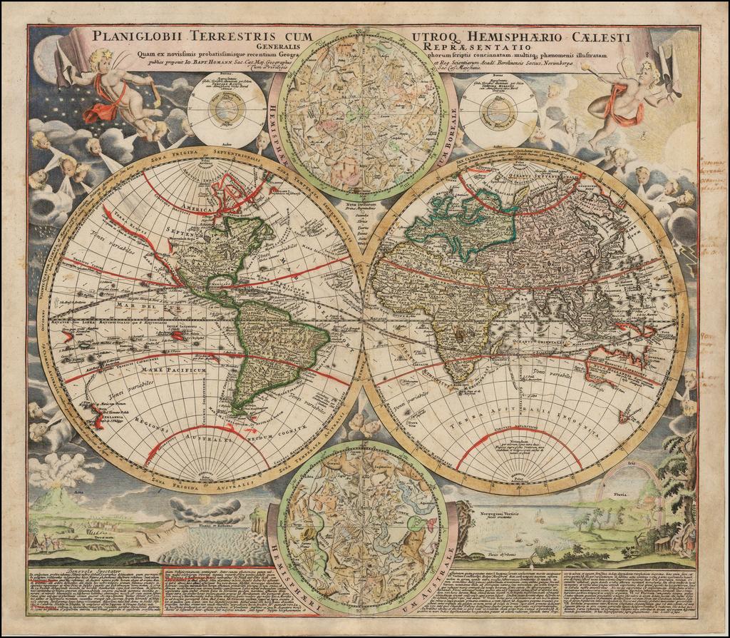 Planiglobii Terrestris Cum Utroq Hemisphaerio Caelesti Generalis Exhibitio . . . By Johann Baptist Homann