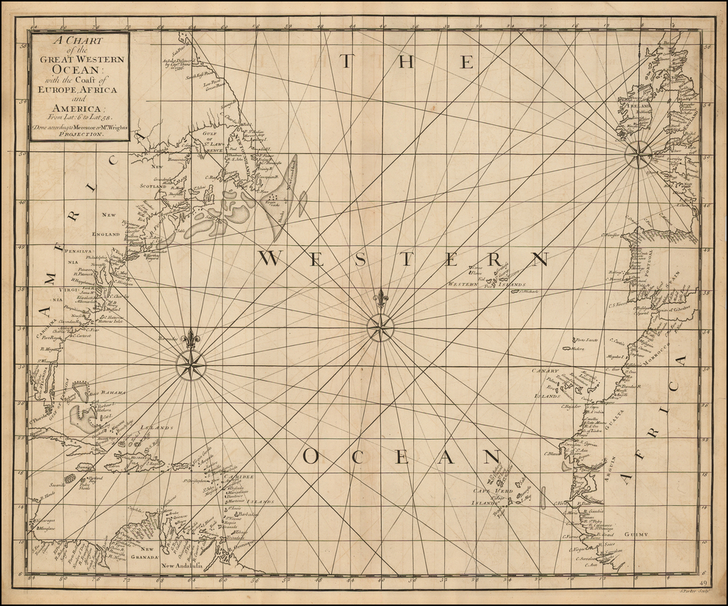 A Chart of the Great Western Ocean with the Coast of Europe, Africa & America  . . . Done according to Mercator or Mr. Wright's Projection By John Senex / Edmund Halley / Nathaniel Cutler / Samuel Parker