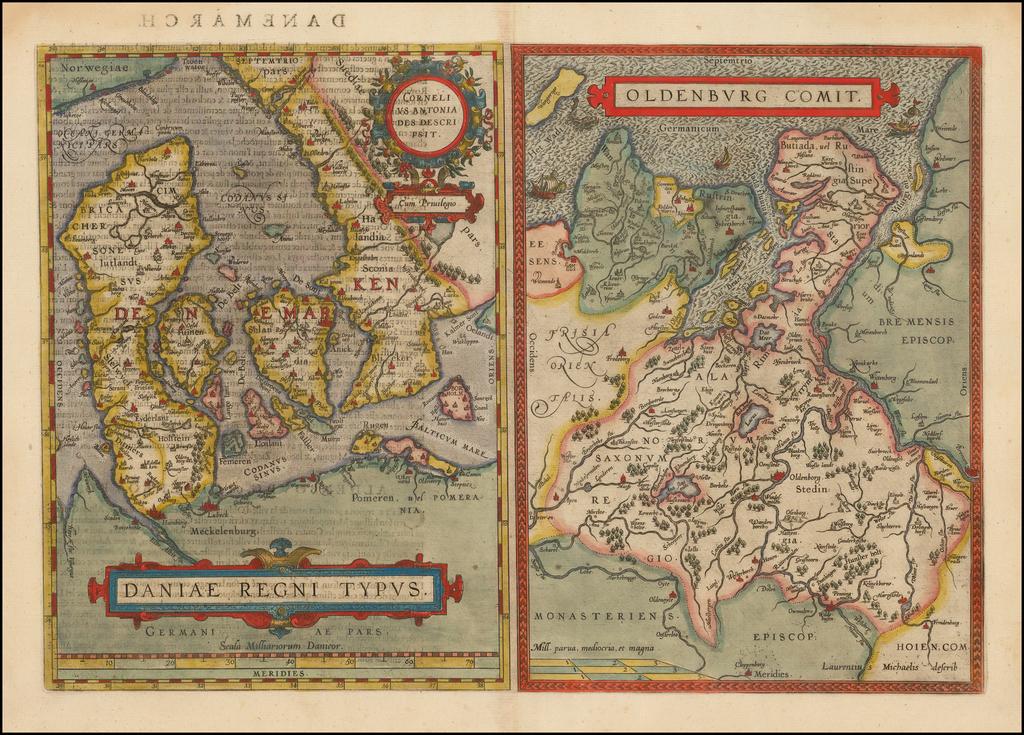 Daniae Regni Typus [with]  Oldenburg Comit. By Abraham Ortelius