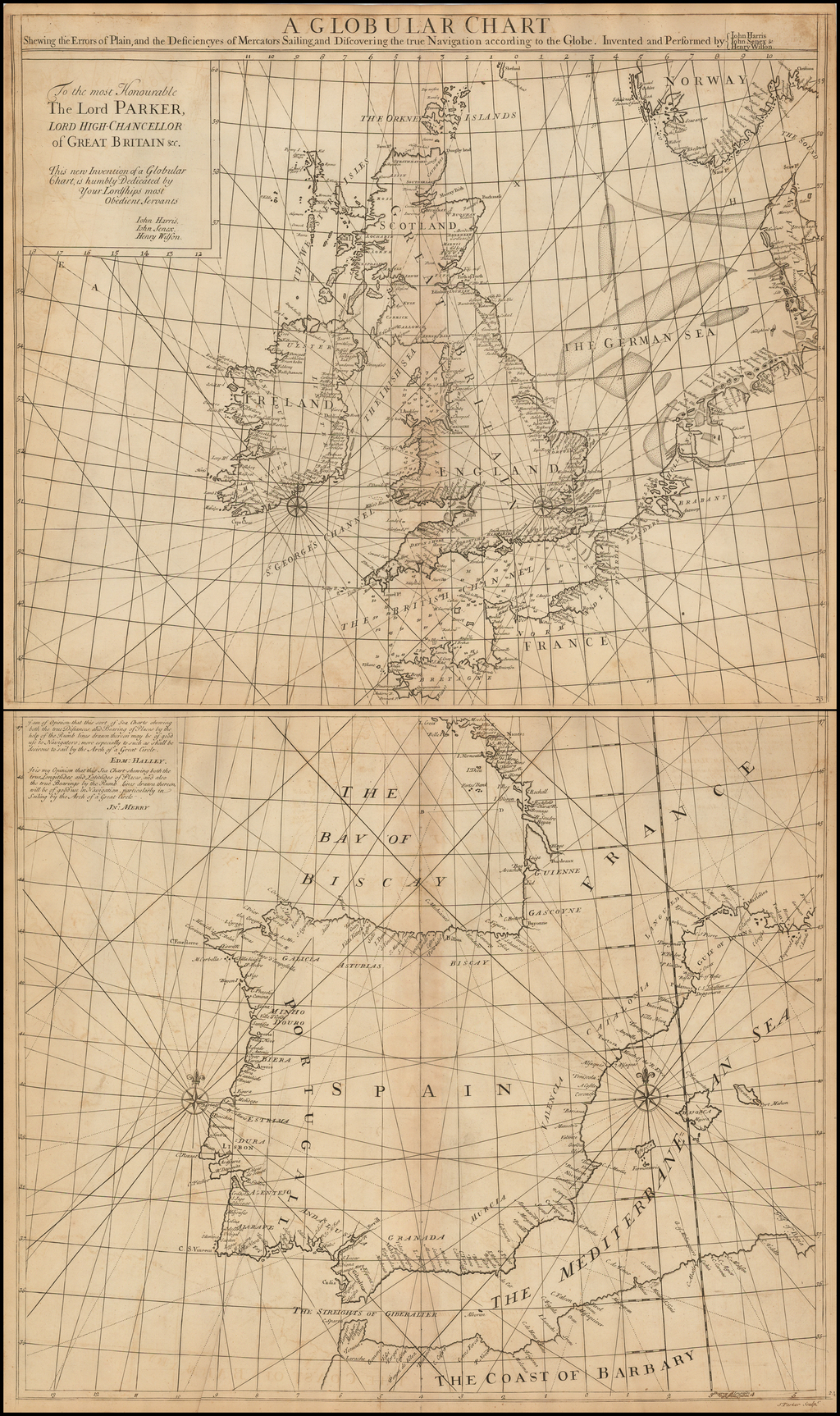 A Globular Chart Shewing the Errors of Plain, and the Deficiencyes of Mercators Sailing; and Discovering the true Navigation according to the Globe.  Invented and Performed by John Harris, John Senex & Henry Wilson By John Senex / Edmund Halley / Nathaniel Cutler