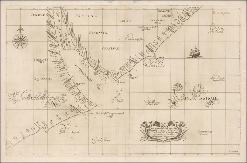 Carta Particolare dell'Rio della Plata che Comincia con la Costa in Gradi 31 di Latine. Australe, e Finisce con il Capo S: Andrea . . .  By Robert Dudley