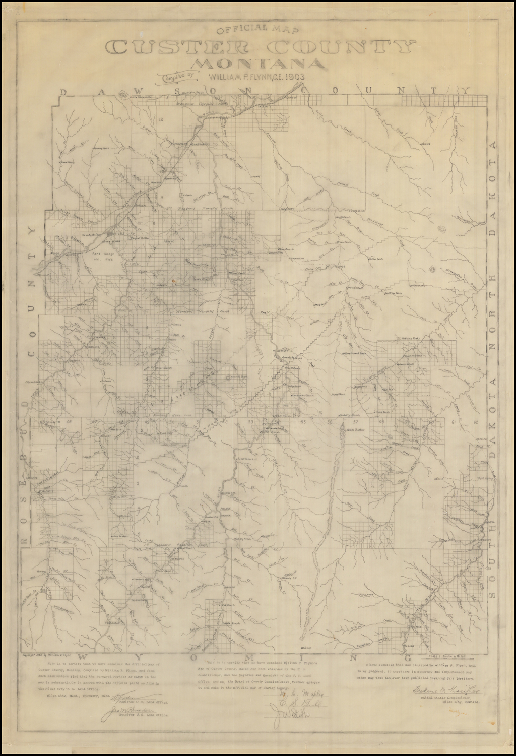 Official Map Custer County Montana Compiled by William P. Flynn, C.E. 1903 By William P. Flynn