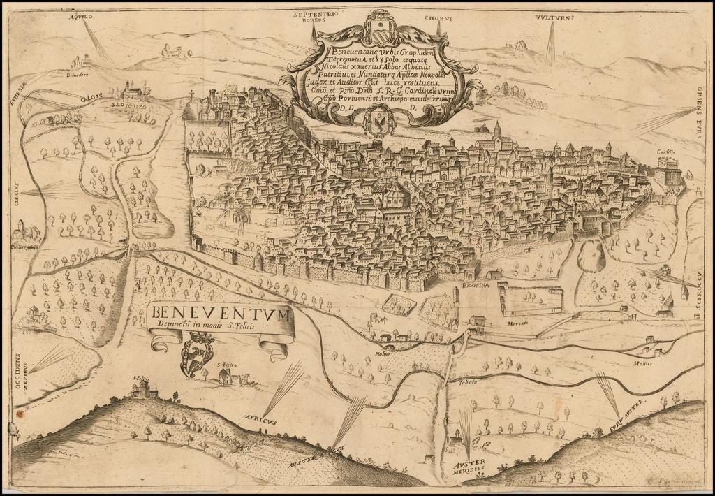 Beneventane Urbis Graphidem Terremotu A: 1688 solo aequate Nicolaus Xaverius Abbas Albinus Patritius Nuntiature . . . .  By