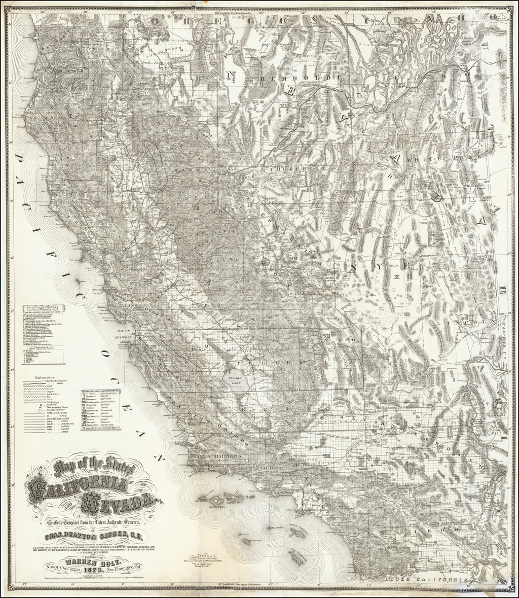Map of the States of California and Nevada Carefully Compiled from the Latest Authentic Sources By Charles Drayton Gibbes, C.E. . . . 1873   By Warren Holt / Charles Drayton Gibbes