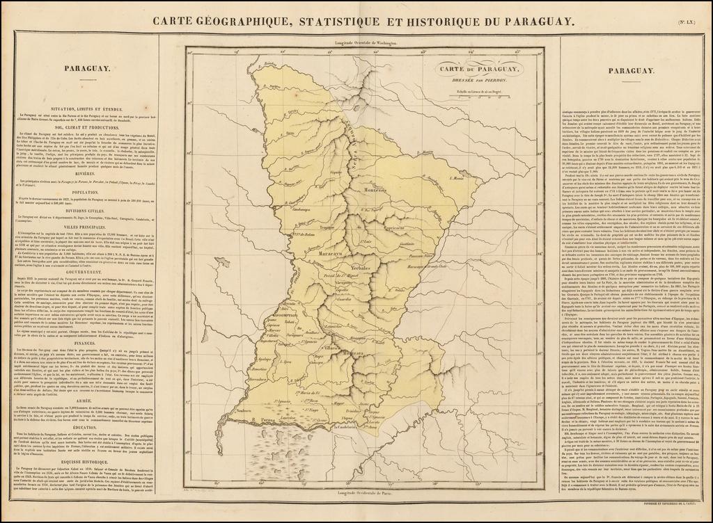 Carte Geographique, Statistique et Historique Du Paraguay By Jean Alexandre Buchon