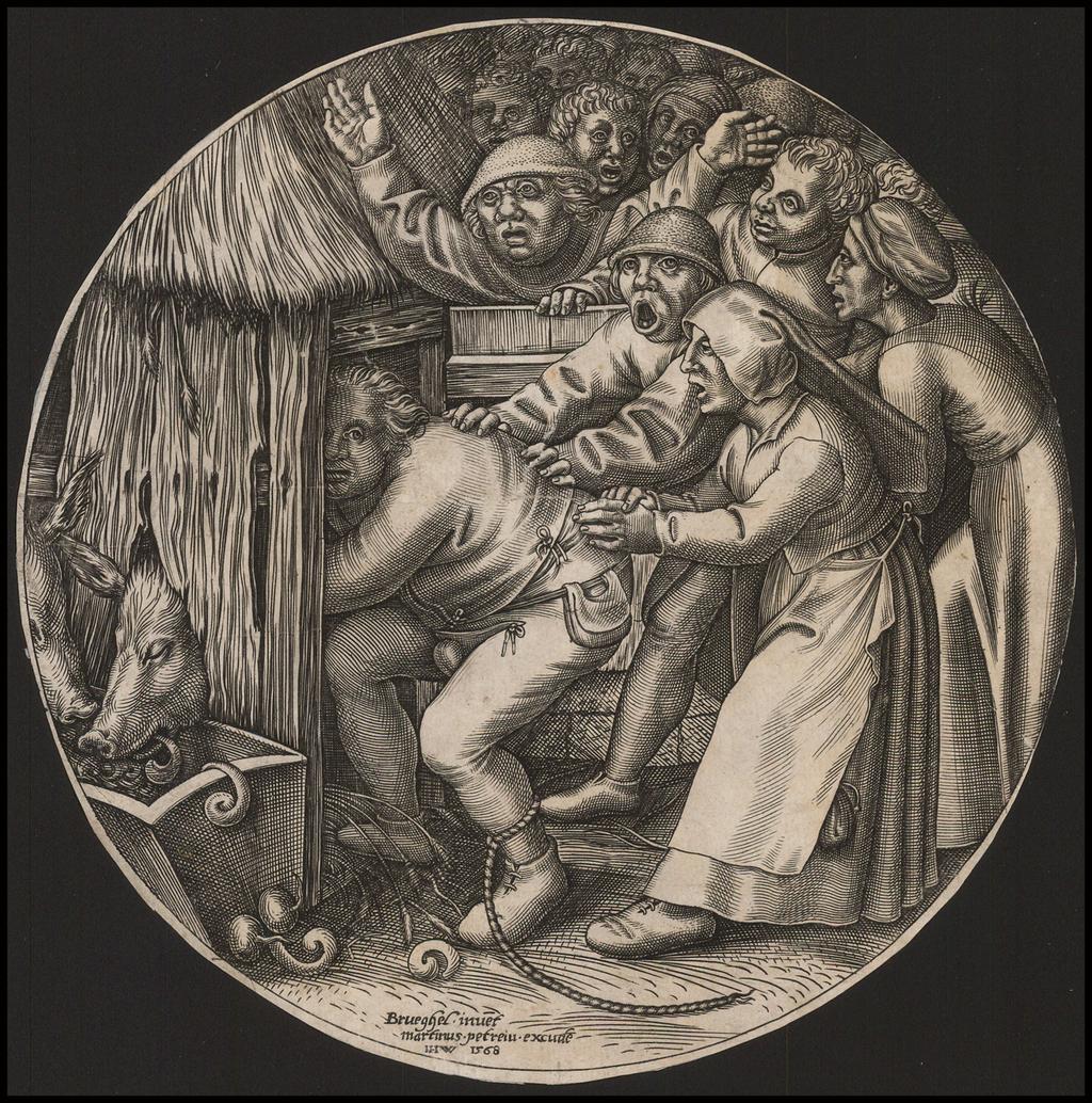 The Drunkard Pushed into the Pigsty. By Pieter Bruegel / Johannes Wierix