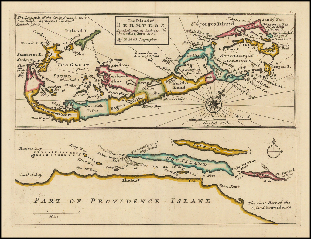 The Island of Bermudos, Divided into its Tribes, with the Castles, Forts &c. . . .  (with)  Part of Providence Island -- (Bahamas) By Herman Moll