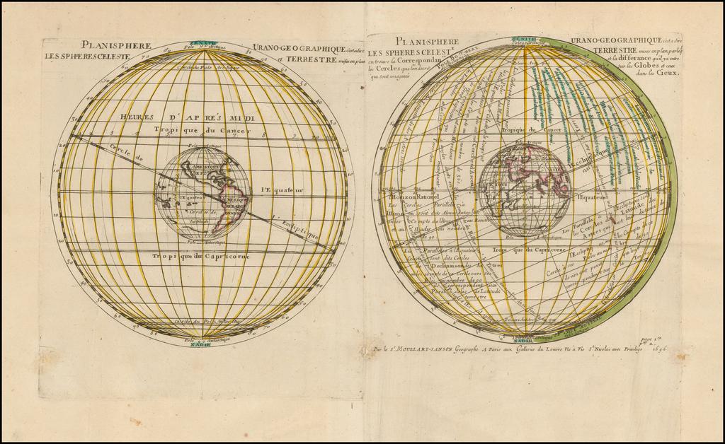 Planisphere Urano-Geographique c'estadire Les Spheres Celeste et Terrestre misses en Plan . . .  By Pierre Moullart Sanson