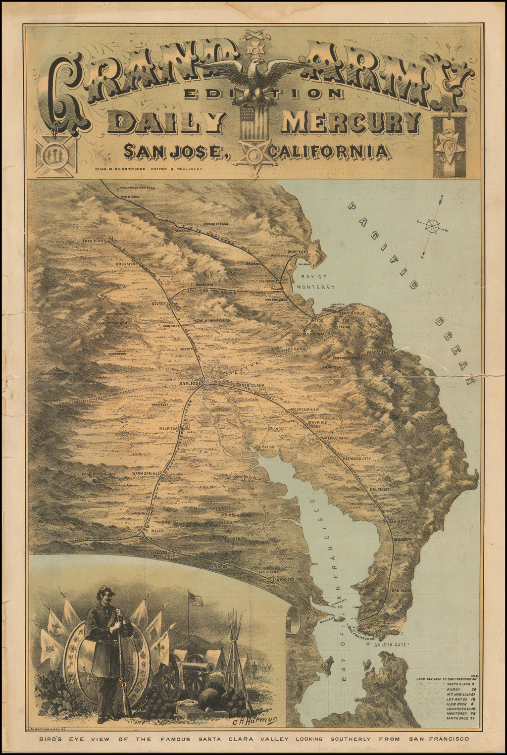 Bird's Eye View of the Famous Santa Clara valley Looking Southerly from San Francisco By Britton & Rey