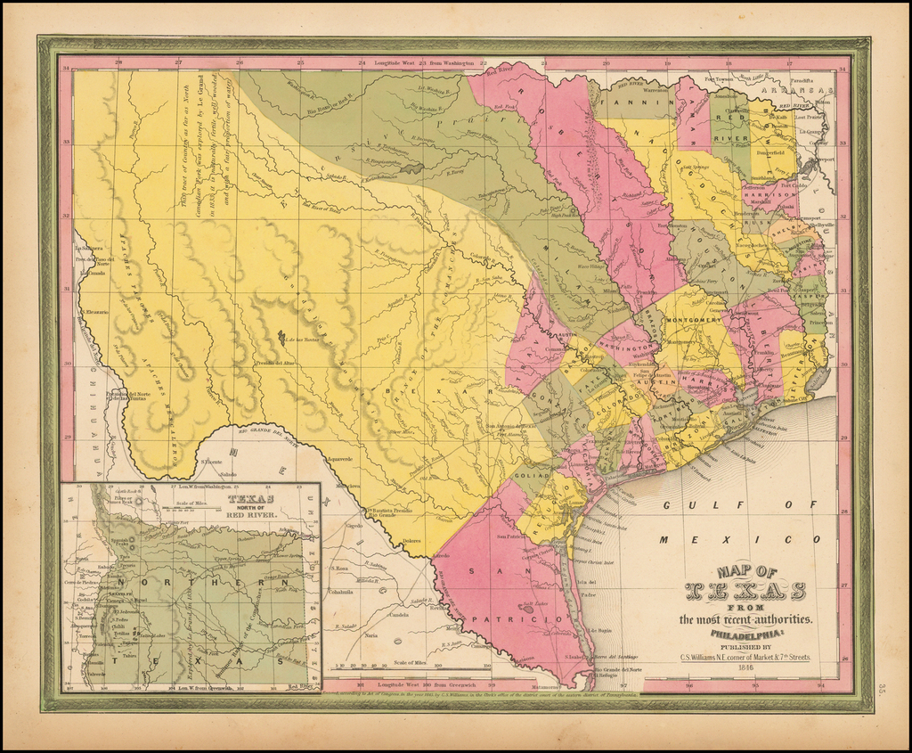 Map of Texas From the most recent authorities . . .  1846 By Samuel Augustus Mitchell