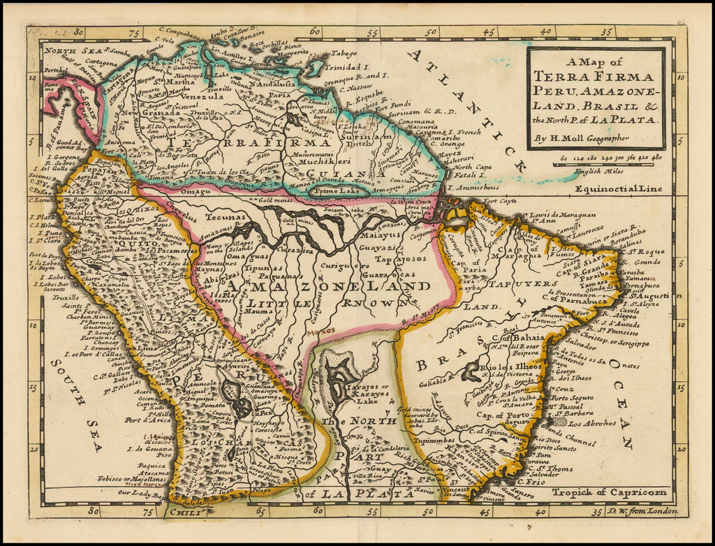 A Map of Terra Firma Peru, Amazone-Land, Brasil & the North P. of La Plata By Herman Moll