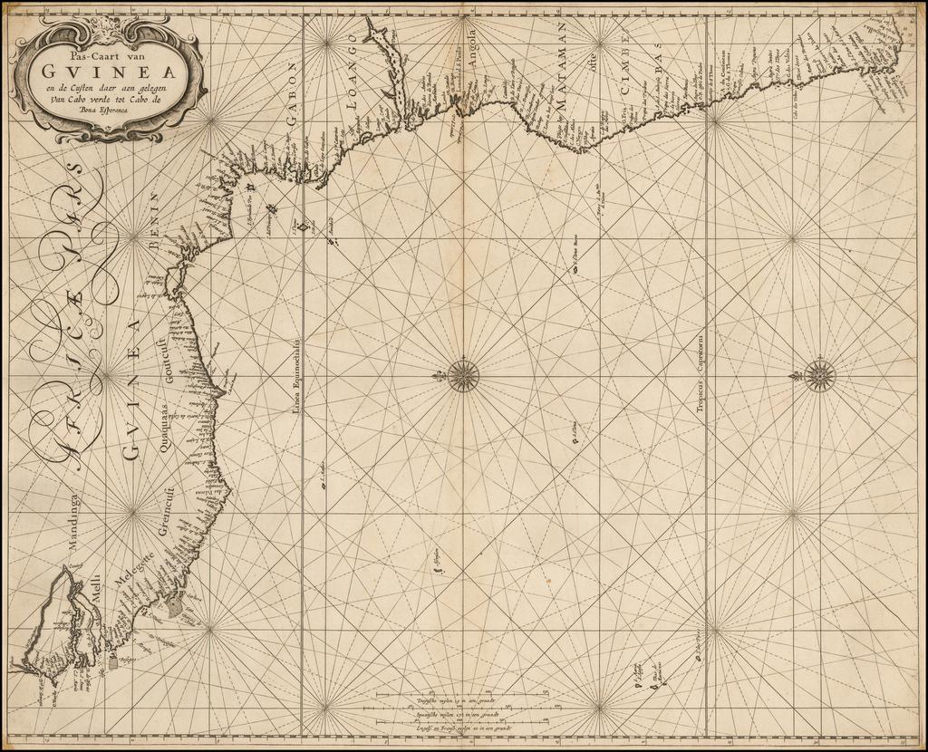 Pas-Caart van Guinea en de Custen daer aen gelegen Van Cabo verde tot Cabo de Bona Esperanca   By Pieter Goos