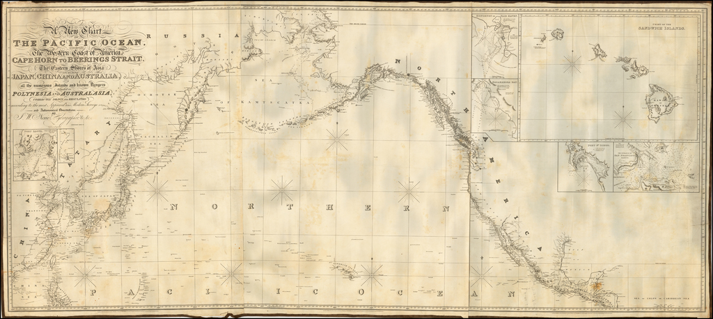 A New Chart of The Pacific Ocean, Exhibiting The Western Coast of America from Cape Horn to Beerings Strait, The Eastern Shores of Asia Including Japan, China . . . according the most Modern Surveys . . . Additions to 1836 & 1844 (Large Insets of Hawaii, Honolulu, San Francisco, San Diego) By John William Norie