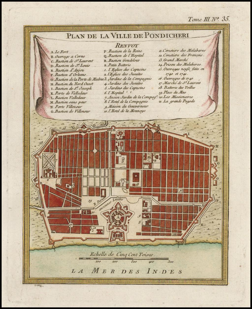 Plan De La Ville De Pondicheri By Jacques Nicolas Bellin