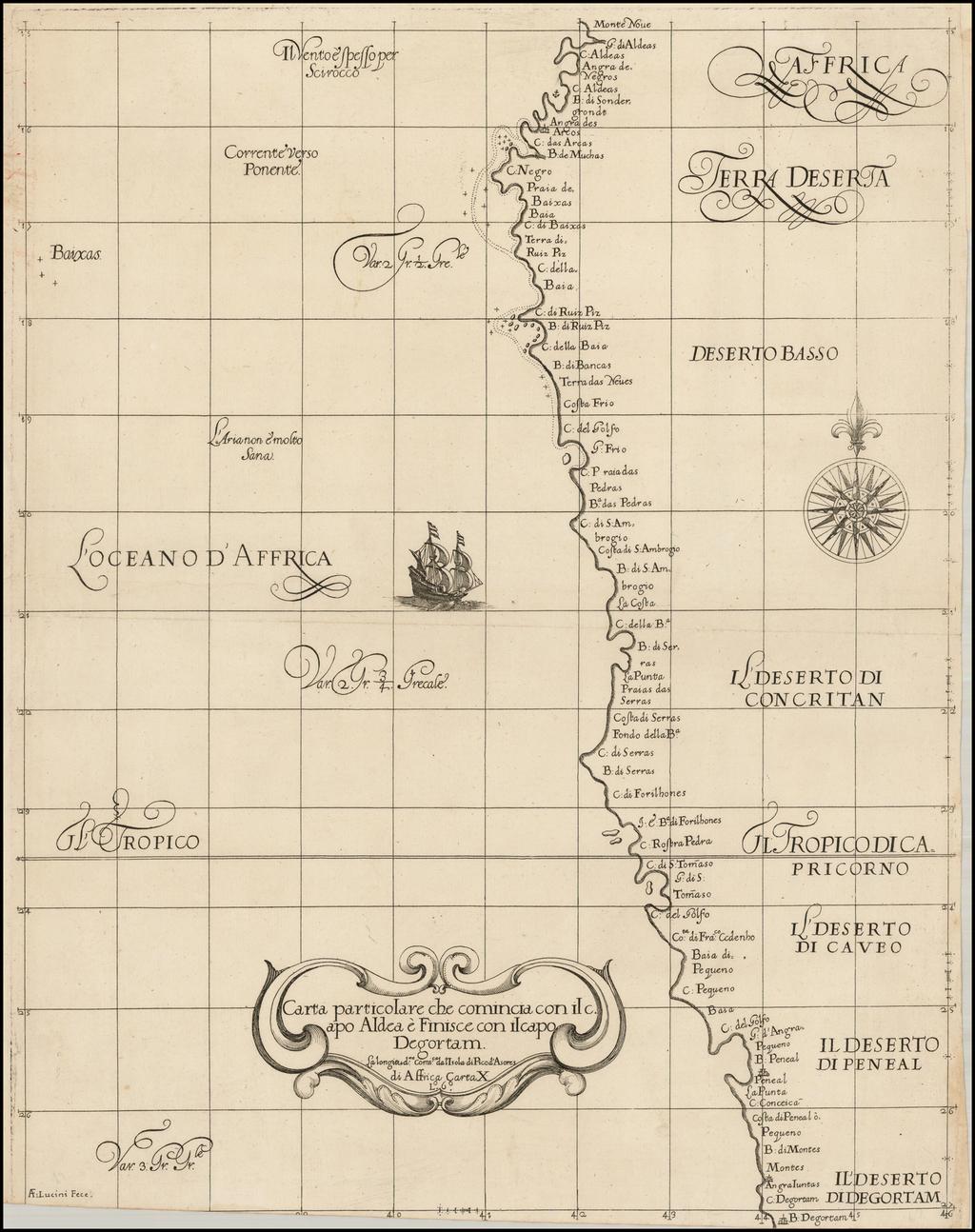 [Southwest Africa] Carta Particolare che Comincia con il Capo Aldea e Finisce con il Capo Degortam  By Robert Dudley