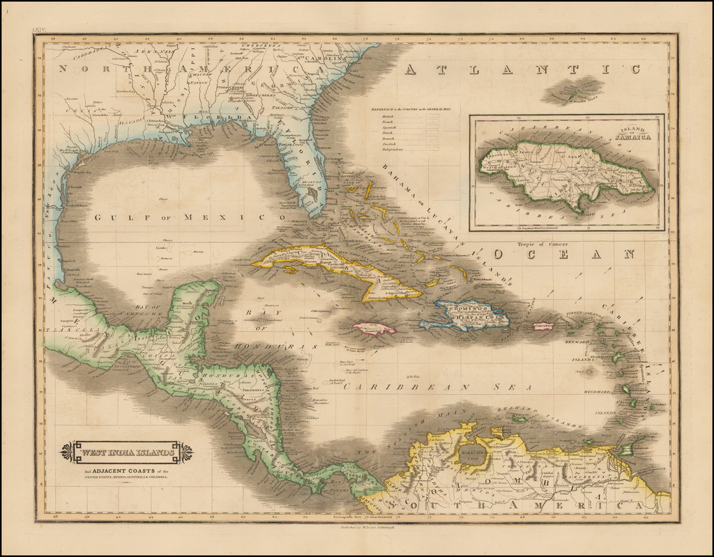 West India Islands And Adjacent Coasts of the United Staets, Mexico, Guatimala & Colombia By David Lizars