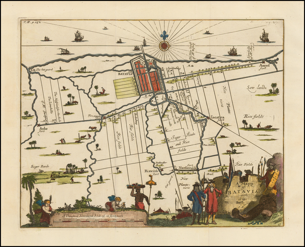 A Mapp of Batavia with all its Forts  By Herman Moll