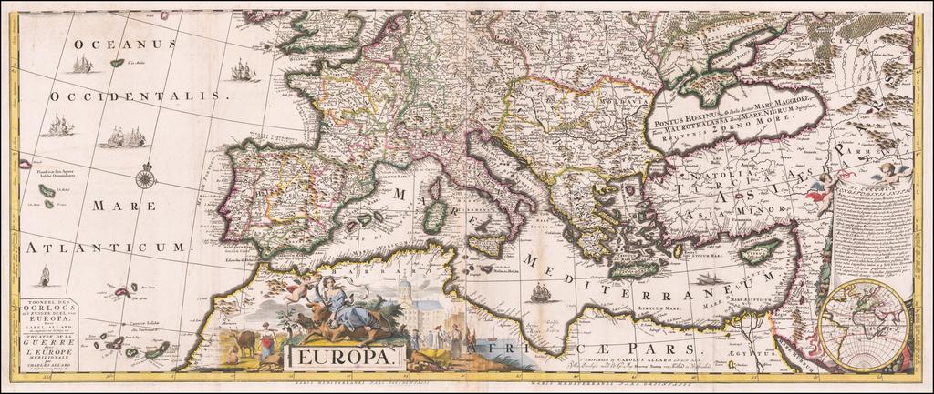 Tooneel Des Oorlogs in't Zuider Deel van Europa . . .    Theatre de la Guerre dans L'Europe Meridionale . .  . By Carel Allard