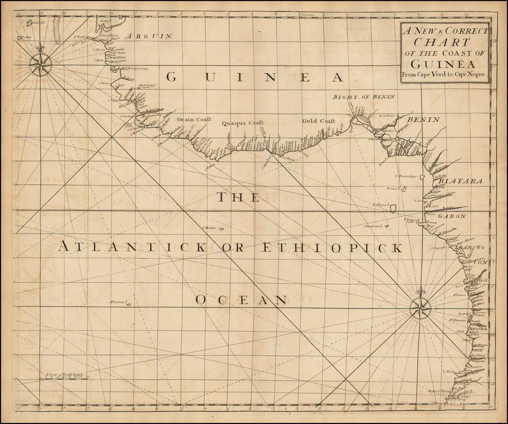 A New & Correct Chart of the Coast of Guinea from Cape Verd to Cape Negro. By John Senex / Edmund Halley / Nathaniel Cutler
