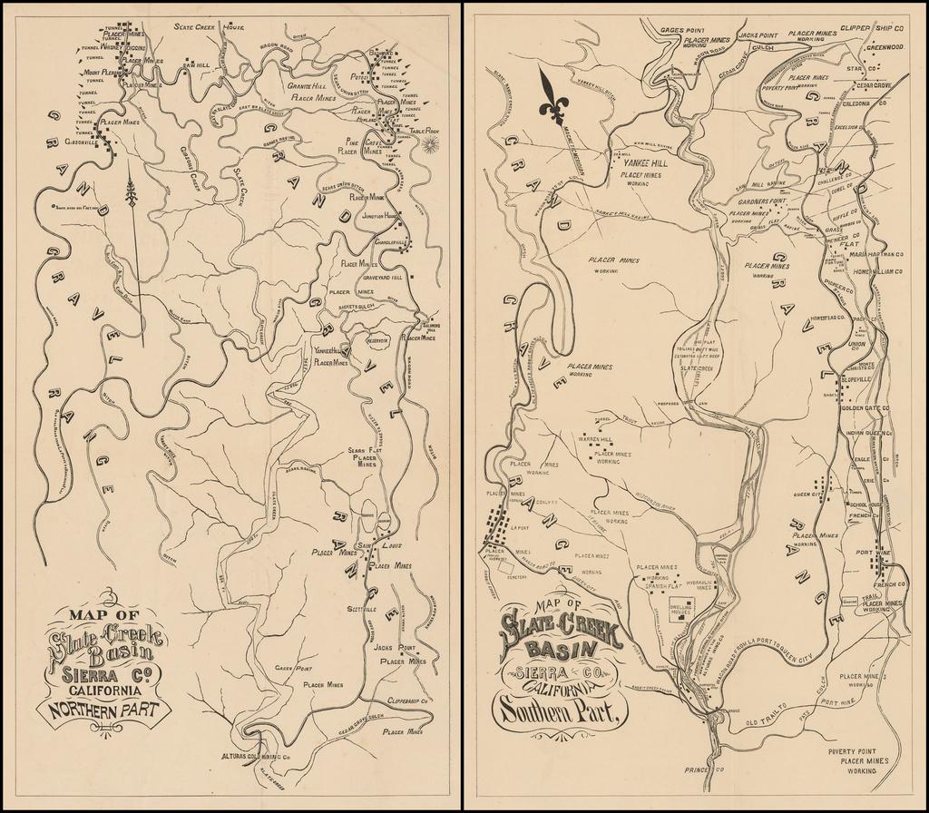 Map of Slate Creek Basin Sierra Co. California Northern Part (and) Map of Slate Creek Basin Sierra Co. California Southern Part By Anonymous