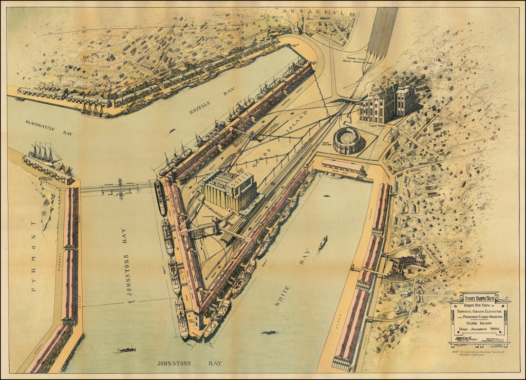Birds Eye View of Terminal Grain Elevator and Proposed Cargo Berths. -- Glebe Island, Port Jackson NSW By Sydney Harbour Trust
