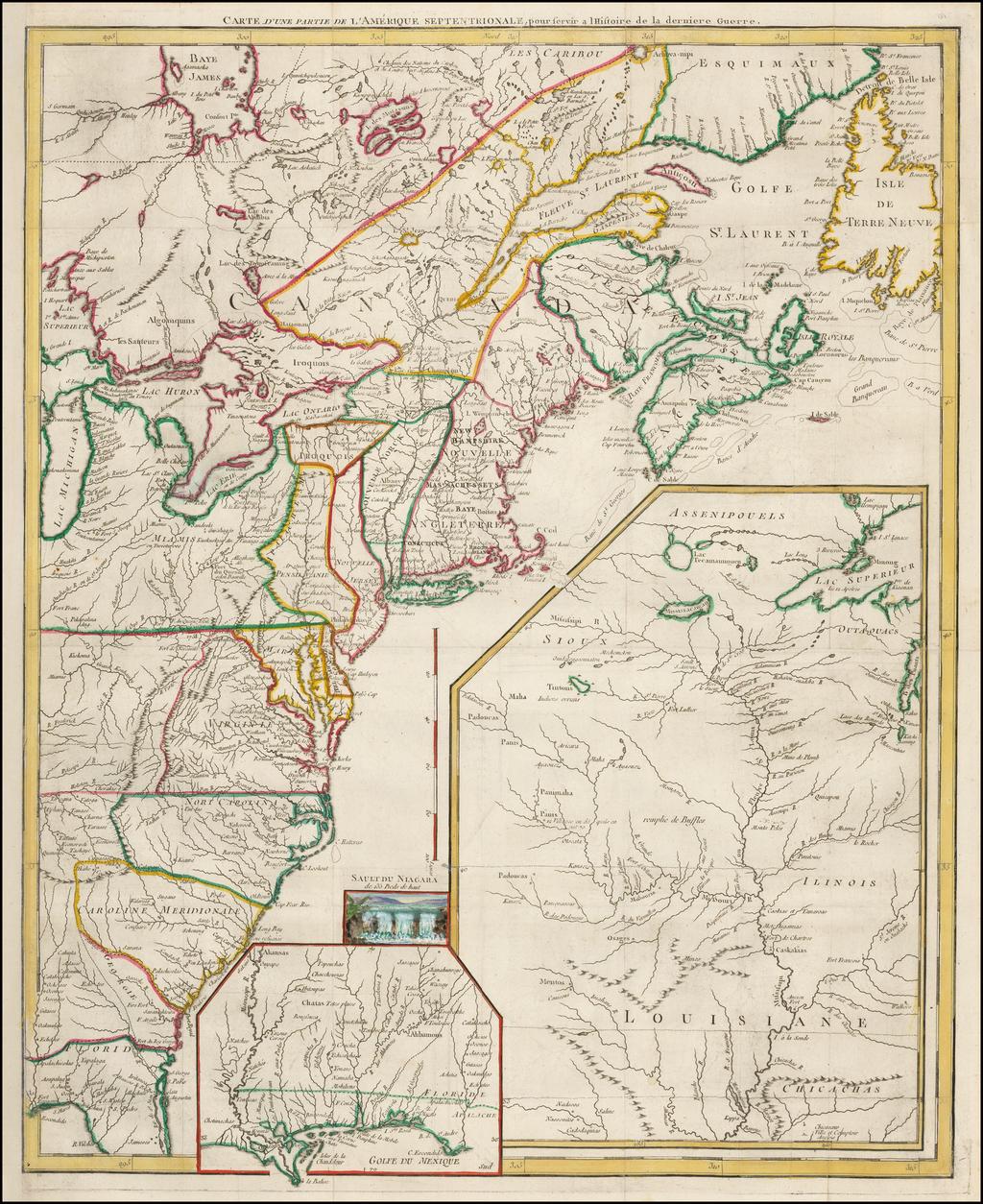 Carte D'Une Partie De L'Amerique Septentrionale pour servir a l'Histoire derniere Guerre By George Louis Le Rouge