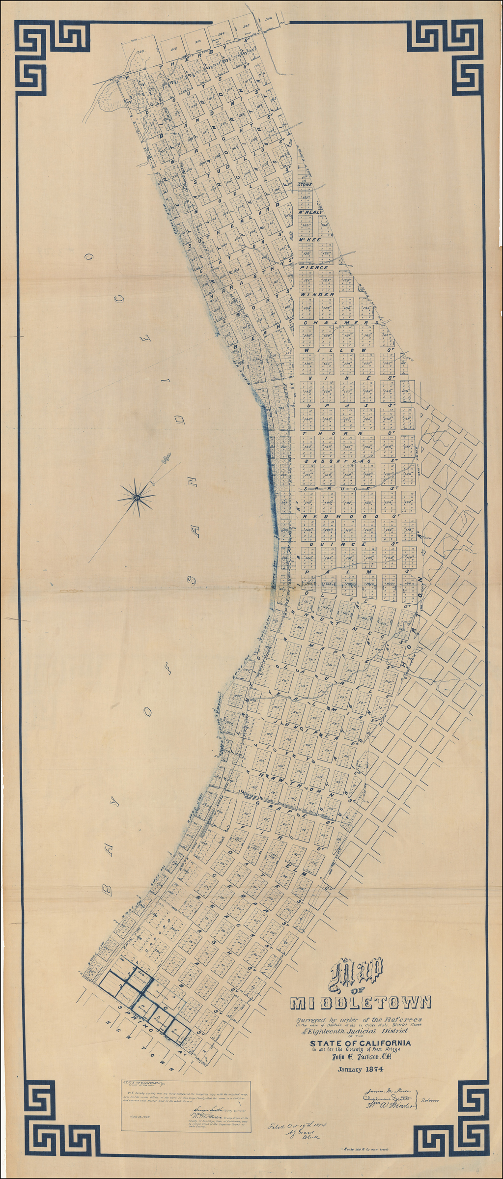 (San Diego) Map of Middletown Surveyed by order of the Referees in the case of Baldwin et als. vs. Couts et als. . . . John E. Jackson, C.E. January 1874. By John E. Jackson