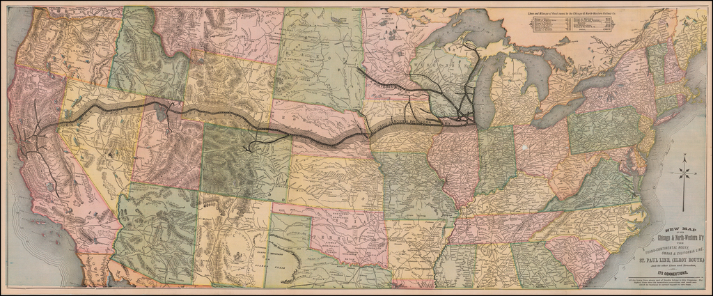 New Map of the Chicago & North-Western R'y The Trans-continental Route, Omaha & California Line, St. Paul Line, (Elroy Route,) And its other Lines and Branches, and its Connections. By Rand McNally & Company